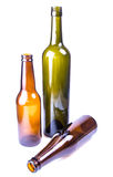 Botellas del vino y de cerveza Fotos de archivo libres de regalías