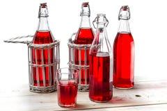 Botellas del vintage con el jugo rojo Fotografía de archivo