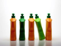 Botellas detergentes Imágenes de archivo libres de regalías