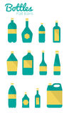 Botellas e iconos del paquete. libre illustration