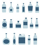 Botellas e iconos del paquete Imagen de archivo libre de regalías