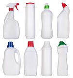 Botellas en blanco de fuentes de limpieza Fotos de archivo libres de regalías