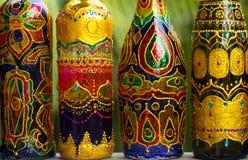 Botellas en fila Foto de archivo libre de regalías