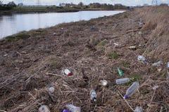 Botellas en un riverbank Imágenes de archivo libres de regalías