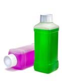 Botellas plásticas con el líquido de la limpieza Foto de archivo