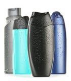 Botellas plásticas de productos del cuidado y de belleza de la carrocería Foto de archivo libre de regalías