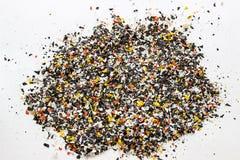 Botellas plásticas recicladas Pelotillas poliméricas Gránulos del polímero imagen de archivo libre de regalías