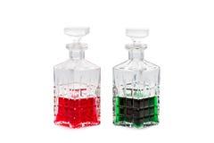 Botellas rojas y verdes Fotos de archivo libres de regalías