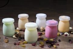Botellas sanas del yogur con las nueces Foto de archivo libre de regalías