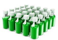 Botellas transparentes con una vacuna Imagenes de archivo
