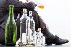 Botellas vacías de alcohol Fotografía de archivo libre de regalías