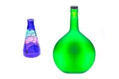 Botellas vacías de Champán, cutou de cristal pintado a mano del estudio del florero Imagenes de archivo