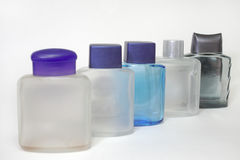 Botellas vacías de lociones después del afeitado fotografía de archivo libre de regalías