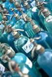Botellas viejas de agua del seltz Imagenes de archivo