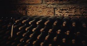 Botellas viejas de vino rojo en un sótano Epopeya roja 4K metrajes