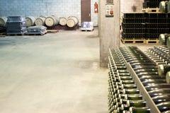 Botellas y barriles en una acción del lagar Imagen de archivo libre de regalías