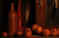 Botellas y cebollas Fotos de archivo libres de regalías
