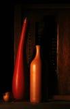 Botellas y cebollas Imágenes de archivo libres de regalías