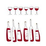 Botellas y vidrios aislados de vino del vector Fotos de archivo