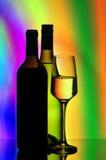 Botellas y vidrios de vino Fotografía de archivo