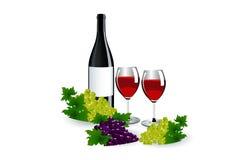 Botellas y vidrios de vino Foto de archivo libre de regalías