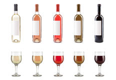 Botellas y vidrios de vino Foto de archivo