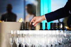 Botellas y vidrios de vino Imagen de archivo