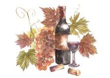 Botellas y vidrios de vino y surtido de uvas, aislado en blanco Ejemplo dibujado mano de la acuarela Foto de archivo libre de regalías