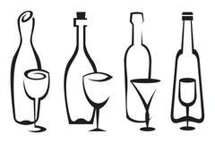 Botellas y vidrios fijados Foto de archivo