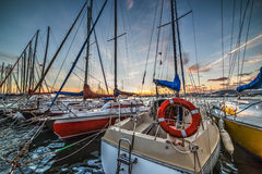 Boten in Alghero-haven stock fotografie