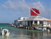 Boten bij de Amigo's del Mar Dock in San Pedro, Belize Stock Afbeelding