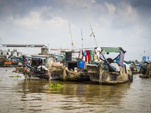 Boten bij de Mekong delta Stock Foto