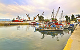 Boten bij Eleusis-haven Griekenland Stock Foto's