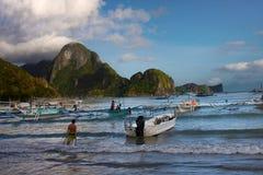 Boten bij Gr Nido, Palawan Royalty-vrije Stock Fotografie