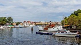 Boten bij het Skeppsholmen-eilandje worden vastgelegd dat Stock Afbeelding