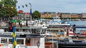 Boten bij het Skeppsholmen-eilandje worden vastgelegd dat Stock Fotografie