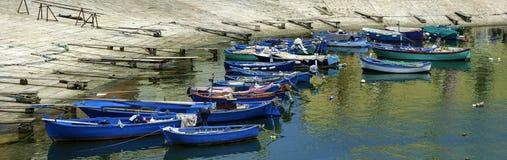 Boten bij toeristenhaven worden vastgelegd van Bisceglie die, royalty-vrije stock foto's
