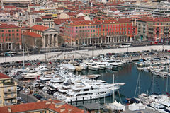 Boten in de haven van Nice, Frankrijk Stock Foto