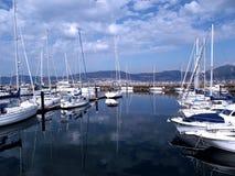 Boten in de haven van Vigo royalty-vrije stock afbeeldingen