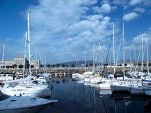 Boten in de haven van Vigo royalty-vrije stock afbeelding