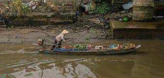 Boten in de het drijven markt van Vietnam royalty-vrije stock afbeeldingen