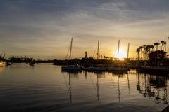 Boten die in Long Beach -Haven worden vastgelegd royalty-vrije stock afbeelding