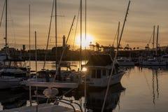 Boten die in Long Beach -Haven worden vastgelegd royalty-vrije stock foto