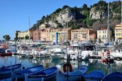 Boten en jachten in de haven van Nice worden vastgelegd dat Stock Foto's