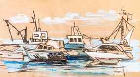 Boten en jachten in haven royalty-vrije illustratie
