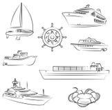 Boten en schepen stock illustratie