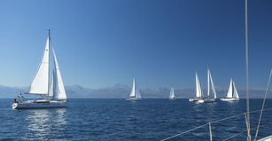 Boten in het varen regatta Rijen van luxejachten bij jachthavendok royalty-vrije stock foto
