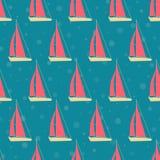 Boten, jachten op het overzees op een cruise Naadloos patroon vector illustratie