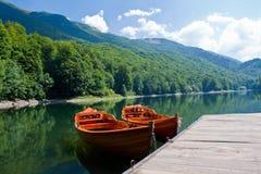 Boten in jezero Biogradske Stock Afbeelding