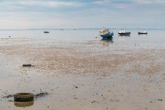 Boten at low tide op de kust van de Rivier Theems stock afbeelding
